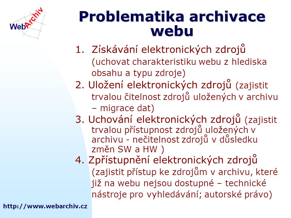 Problematika archivace webu