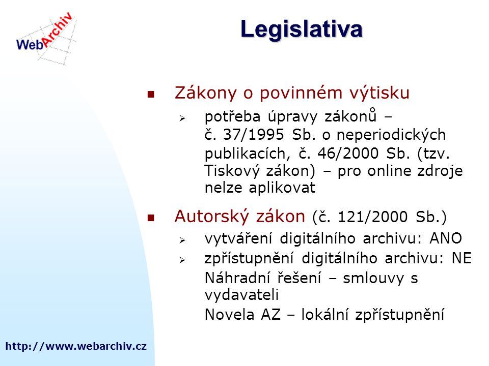 Legislativa Zákony o povinném výtisku Autorský zákon (č. 121/2000 Sb.)