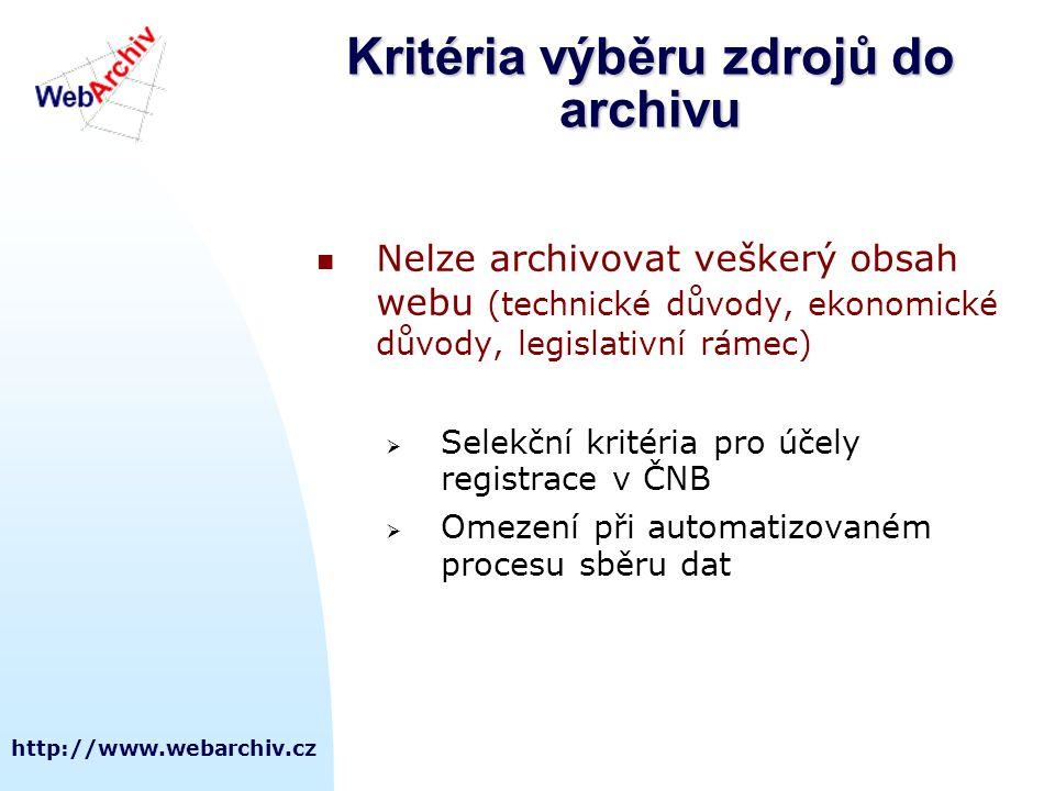 Kritéria výběru zdrojů do archivu