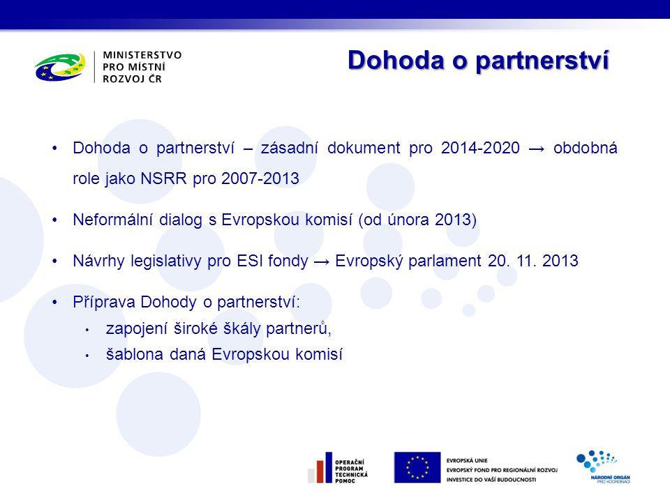 Dohoda o partnerství Dohoda o partnerství – zásadní dokument pro 2014-2020 → obdobná role jako NSRR pro 2007-2013.