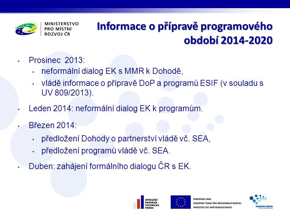 Informace o přípravě programového období 2014-2020