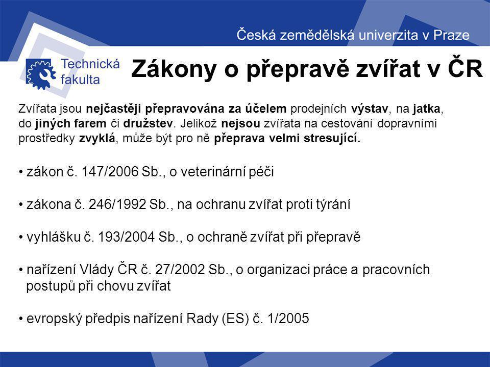 Zákony o přepravě zvířat v ČR