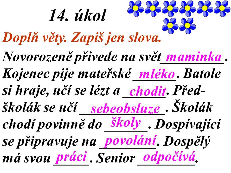 14. úkol Doplň věty. Zapiš jen slova.
