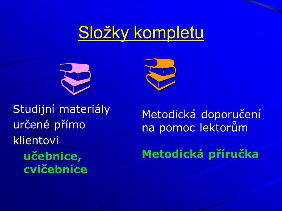   Složky kompletu Metodická doporučení Studijní materiály