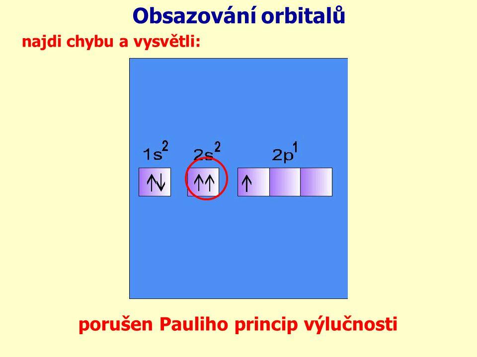 Obsazování orbitalů porušen Pauliho princip výlučnosti