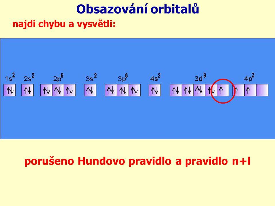 Obsazování orbitalů porušeno Hundovo pravidlo a pravidlo n+l