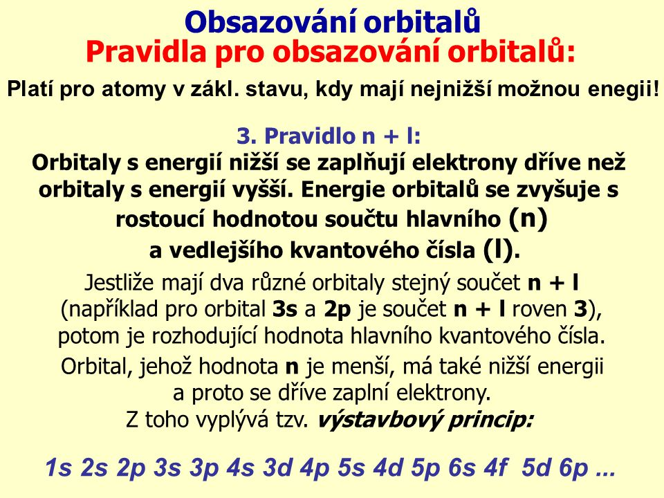 Pravidla pro obsazování orbitalů: