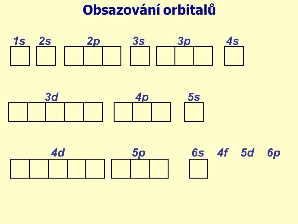 Obsazování orbitalů 1s 2s 2p 3s 3p 4s. 3d 4p 5s.