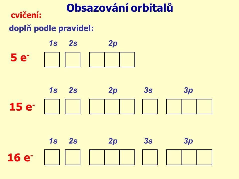 Obsazování orbitalů 5 e- 15 e- 16 e- cvičení: doplň podle pravidel: