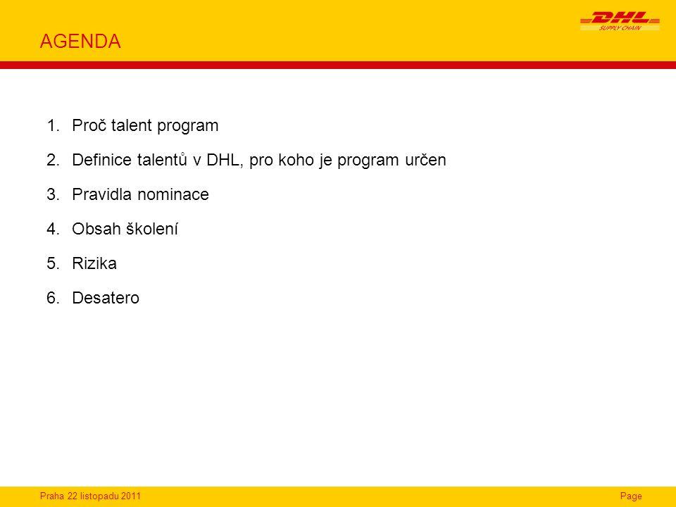 AGENDA Proč talent program