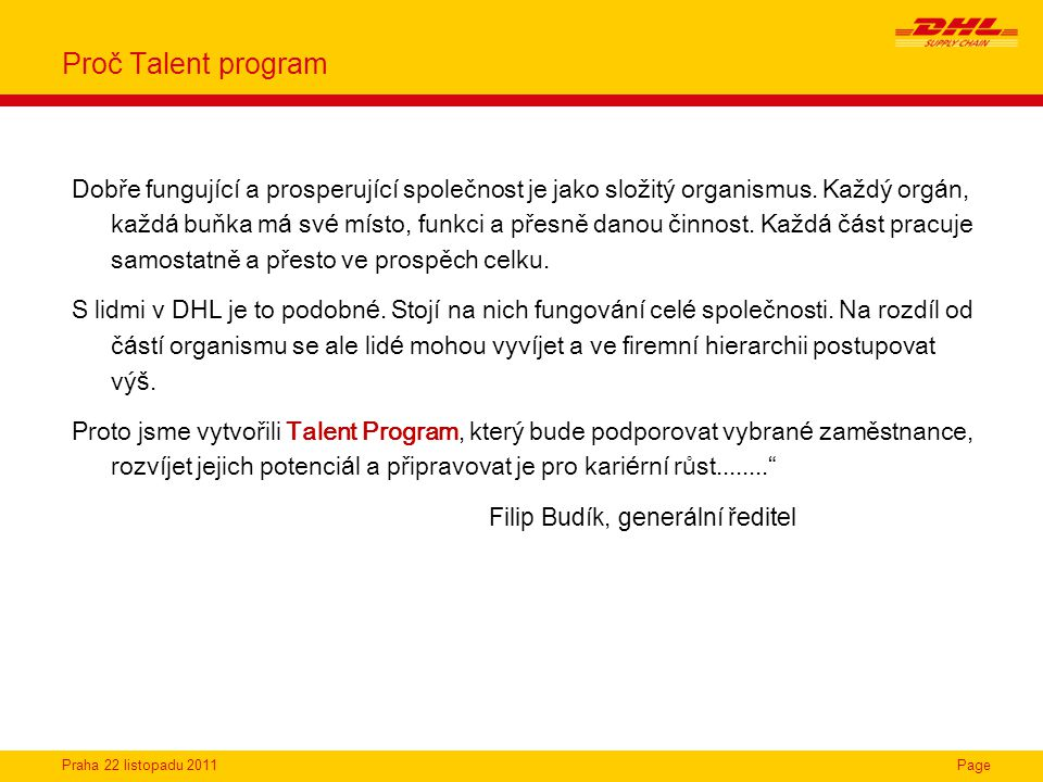 Proč Talent program