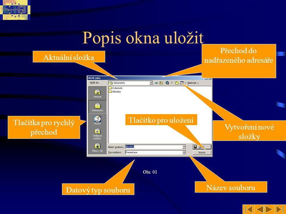 Popis okna uložit Přechod do nadřazeného adresáře Aktuální složka