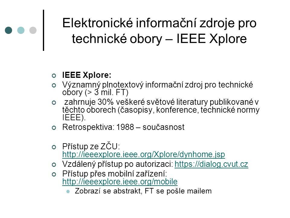 Elektronické informační zdroje pro technické obory – IEEE Xplore
