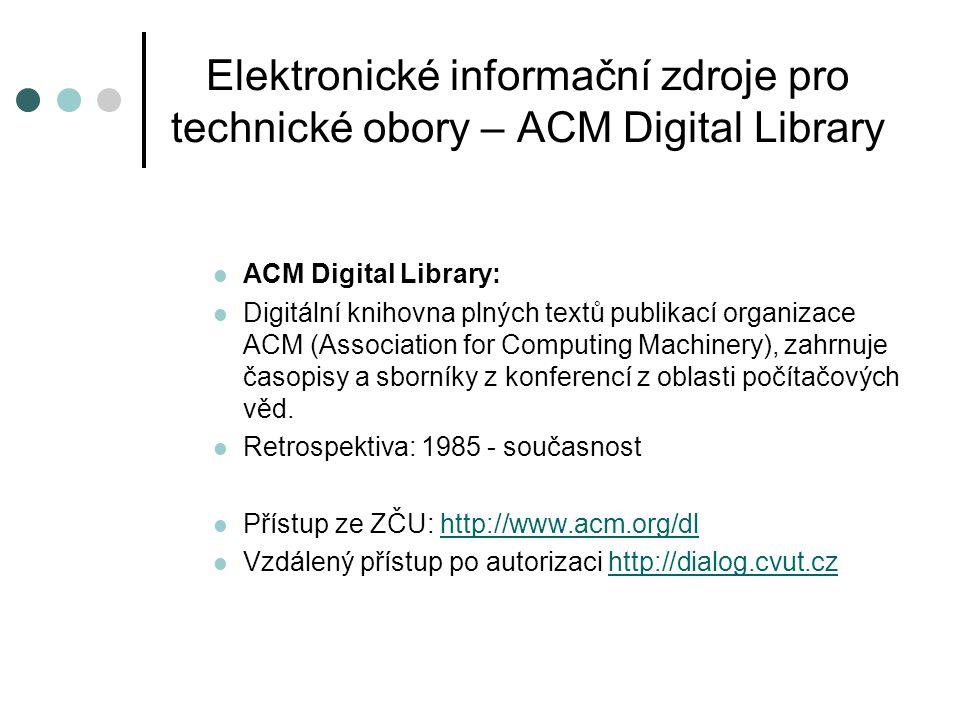 Elektronické informační zdroje pro technické obory – ACM Digital Library