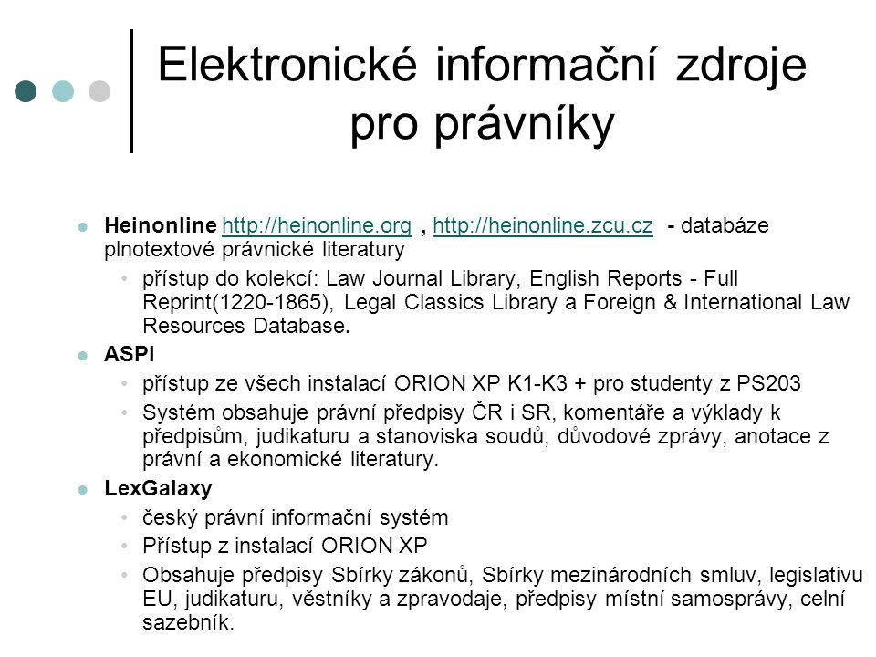 Elektronické informační zdroje pro právníky
