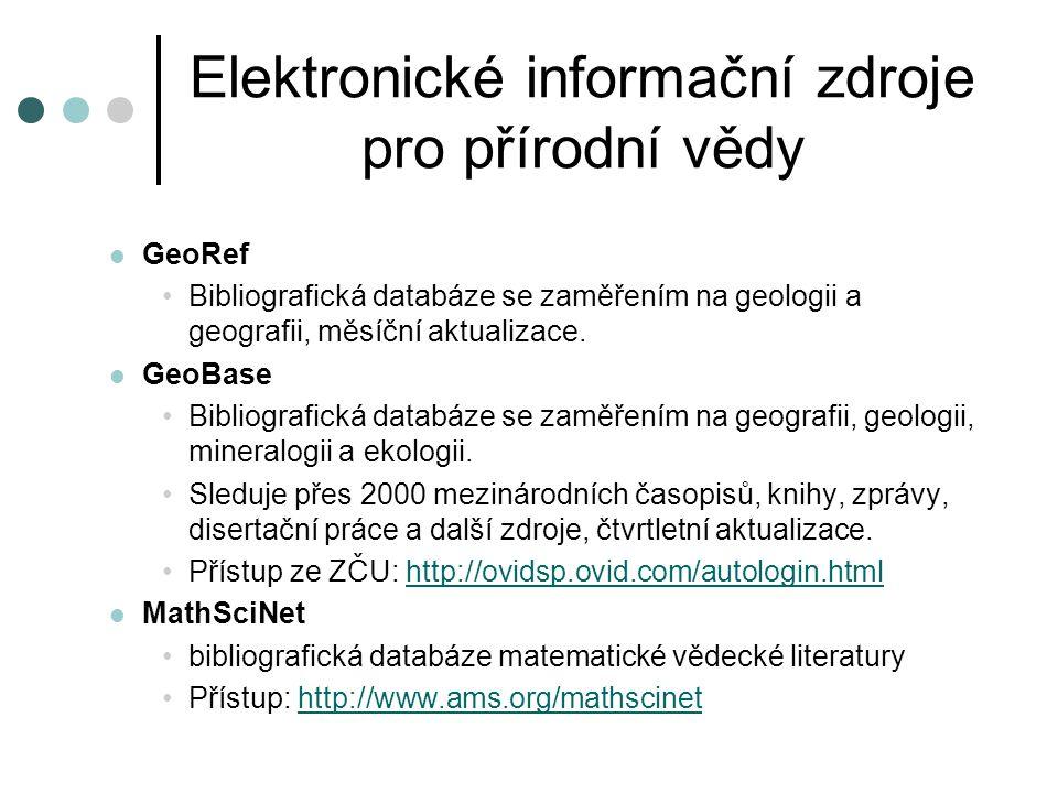 Elektronické informační zdroje pro přírodní vědy