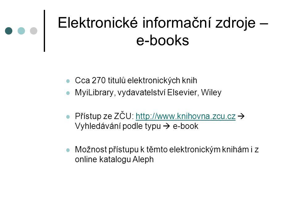 Elektronické informační zdroje – e-books