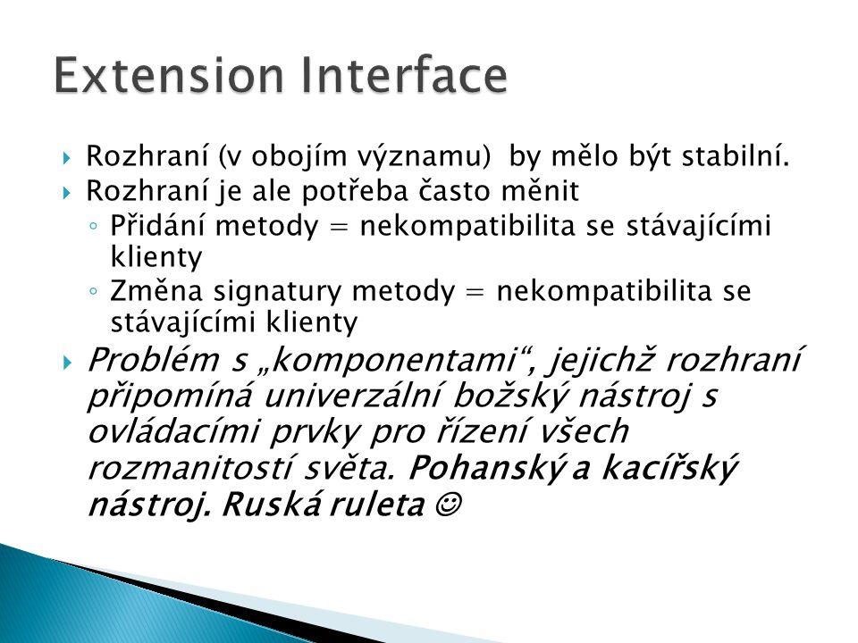 Extension Interface Rozhraní (v obojím významu) by mělo být stabilní. Rozhraní je ale potřeba často měnit.