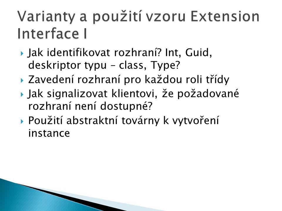 Varianty a použití vzoru Extension Interface I