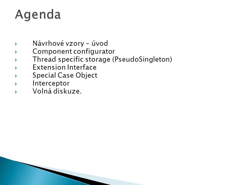 Agenda Návrhové vzory – úvod Component configurator