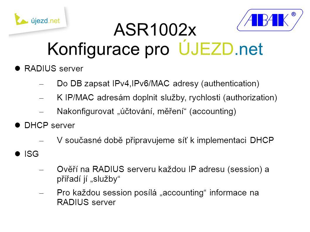 ASR1002x Konfigurace pro ÚJEZD.net