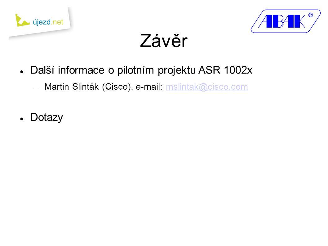 Závěr Další informace o pilotním projektu ASR 1002x Dotazy