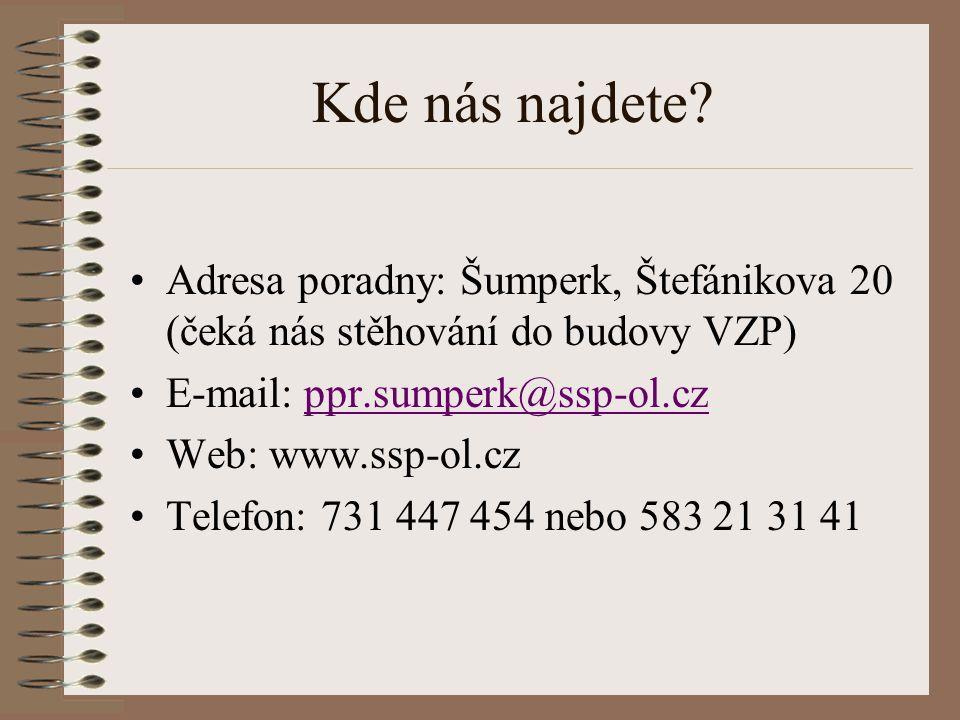 Kde nás najdete Adresa poradny: Šumperk, Štefánikova 20 (čeká nás stěhování do budovy VZP) E-mail: ppr.sumperk@ssp-ol.cz.