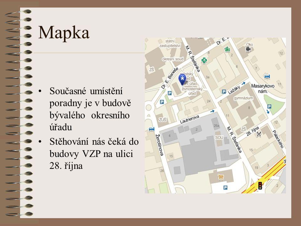 Mapka Současné umístění poradny je v budově bývalého okresního úřadu