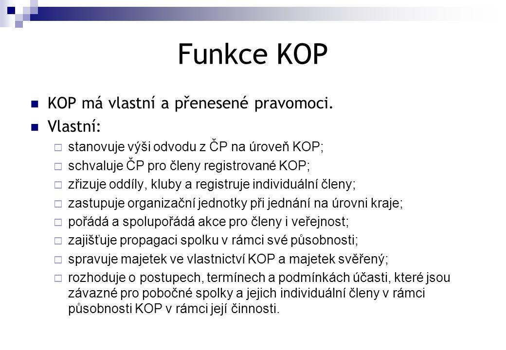 Funkce KOP KOP má vlastní a přenesené pravomoci. Vlastní: