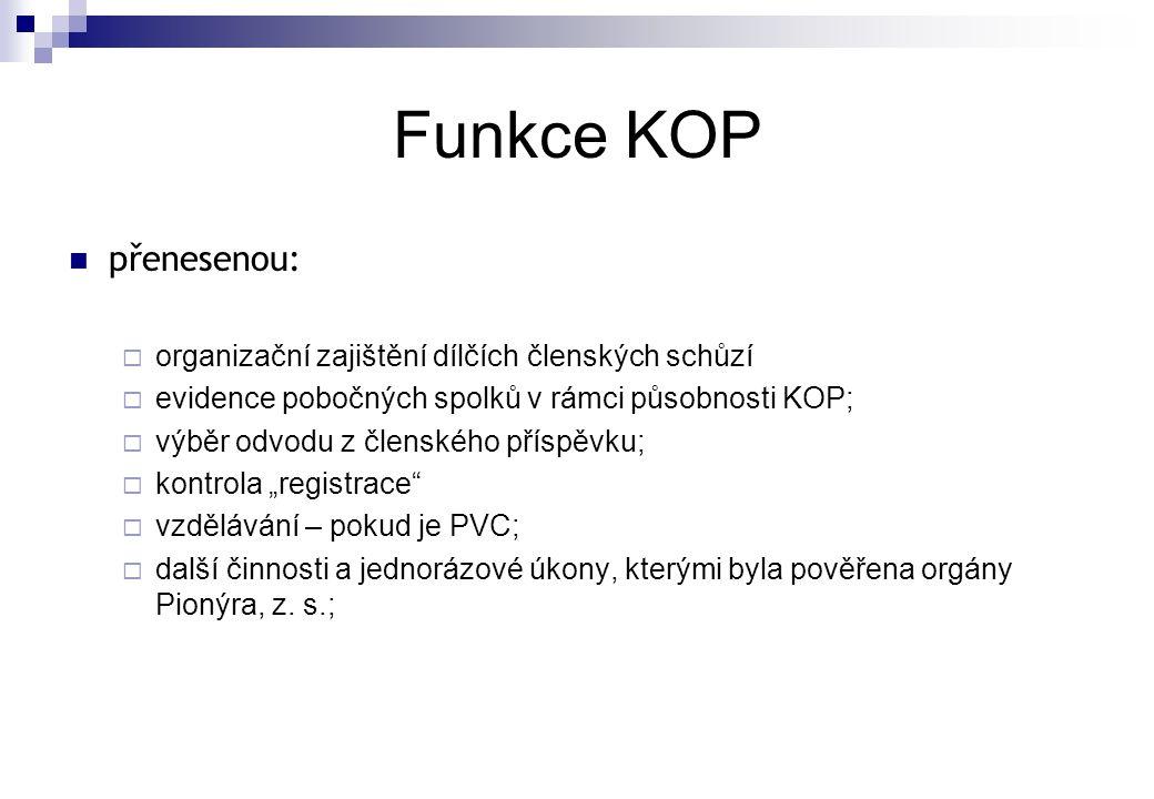 Funkce KOP přenesenou: organizační zajištění dílčích členských schůzí