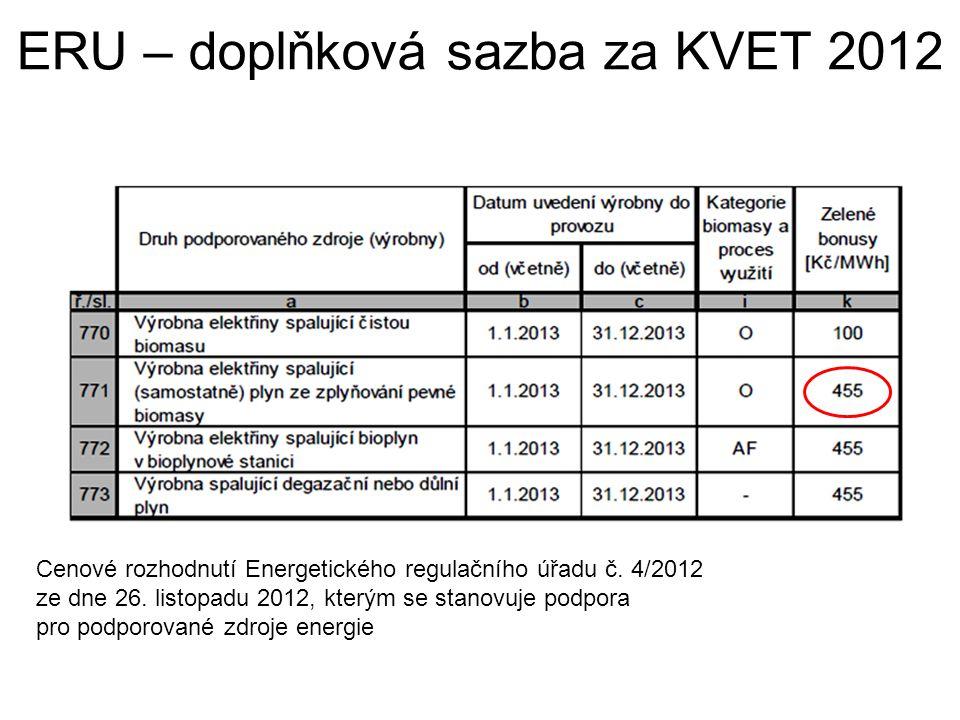 ERU – doplňková sazba za KVET 2012