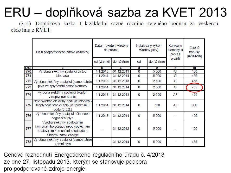 ERU – doplňková sazba za KVET 2013