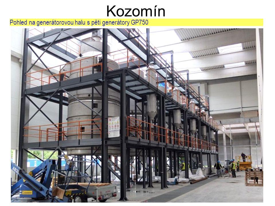 Kozomín Pohled na generátorovou halu s pěti generátory GP750