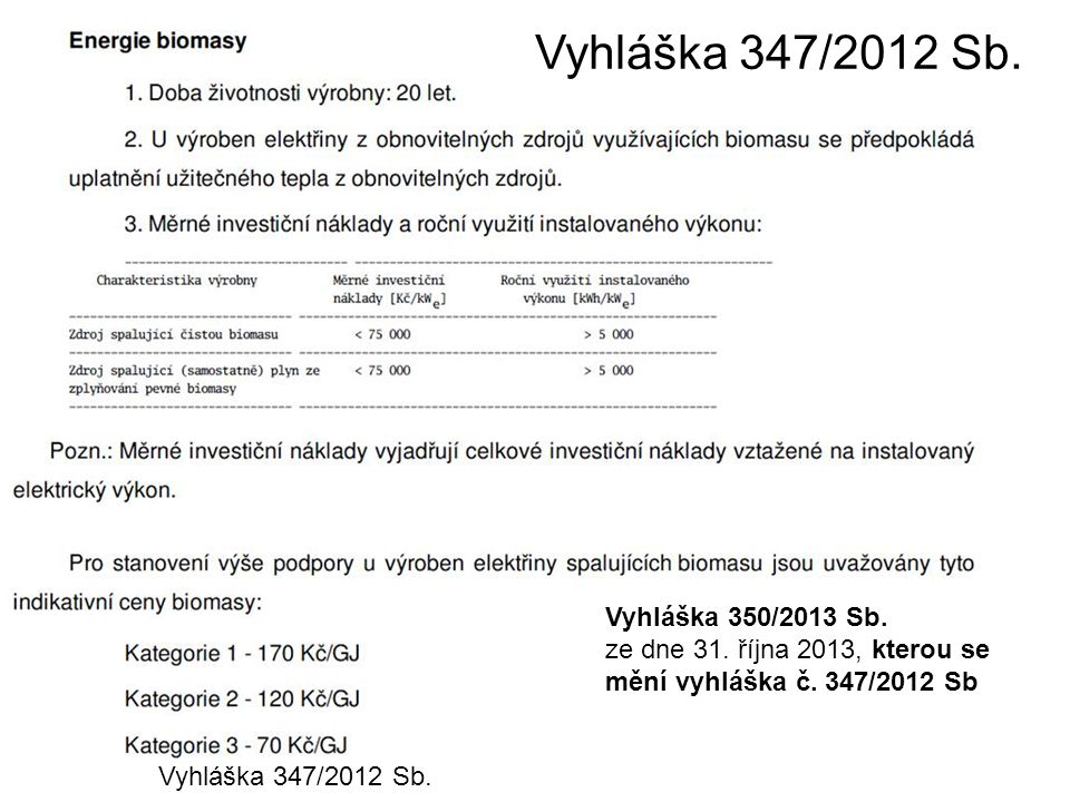 Vyhláška 347/2012 Sb. Vyhláška 350/2013 Sb.