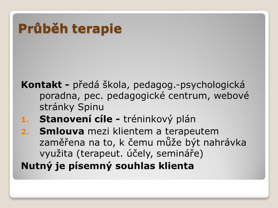 Průběh terapie Kontakt - předá škola, pedagog.-psychologická poradna, pec. pedagogické centrum, webové stránky Spinu.