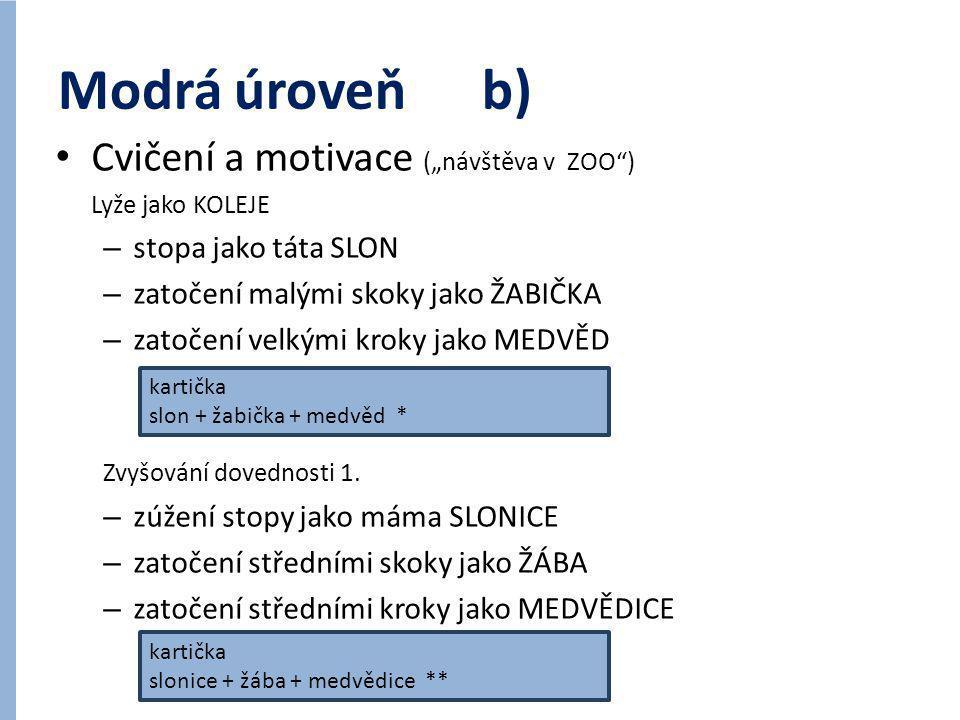 """Modrá úroveň b) Cvičení a motivace (""""návštěva v ZOO )"""
