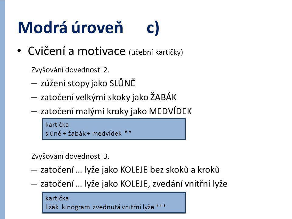 Modrá úroveň c) Cvičení a motivace (učební kartičky)