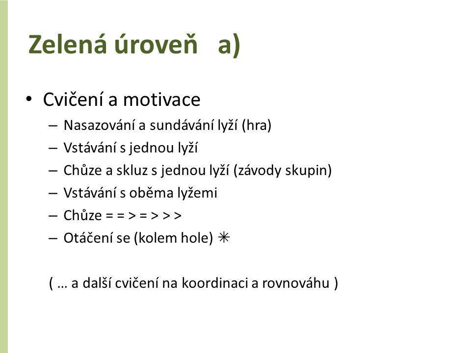 Zelená úroveň a) Cvičení a motivace Nasazování a sundávání lyží (hra)