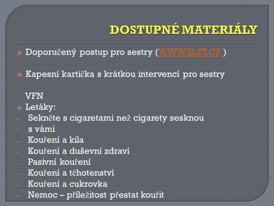 DOSTUPNÉ MATERIÁLY Doporučený postup pro sestry (WWW.SLZT.CZ )