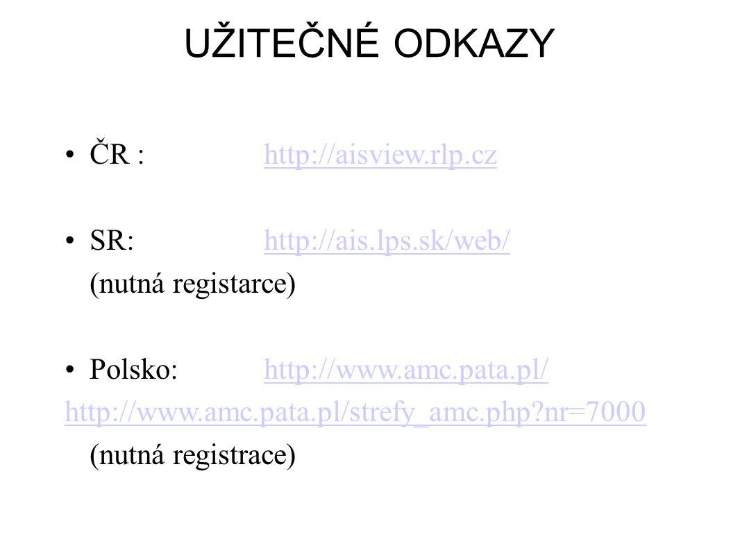 UŽITEČNÉ ODKAZY ČR : http://aisview.rlp.cz SR: http://ais.lps.sk/web/
