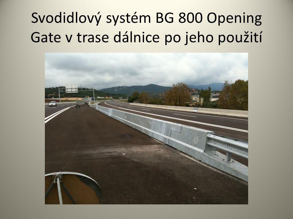 Svodidlový systém BG 800 Opening Gate v trase dálnice po jeho použití