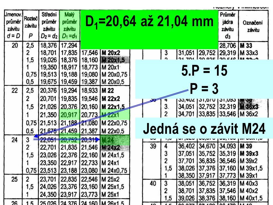 D1=20,64 až 21,04 mm 5.P = 15 P = 3 Jedná se o závit M24