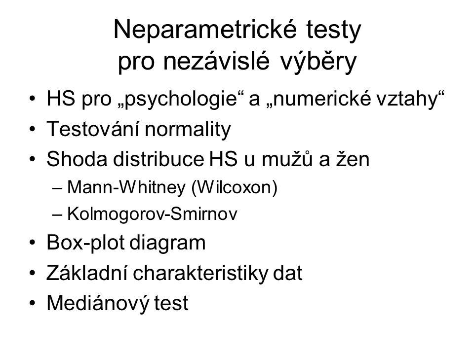 Neparametrické testy pro nezávislé výběry