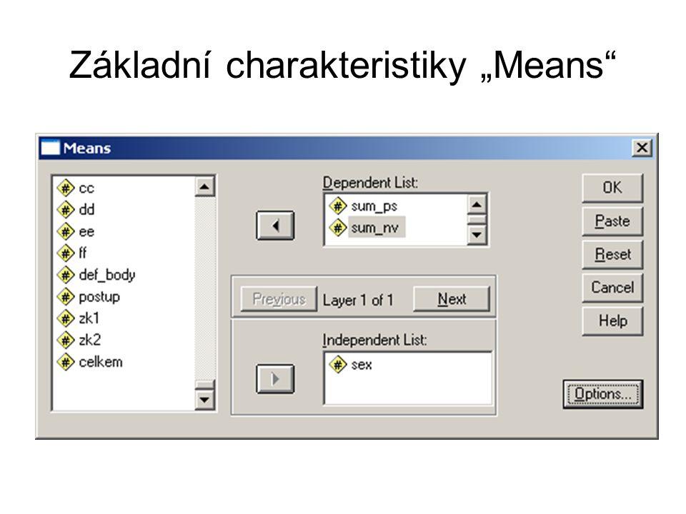 """Základní charakteristiky """"Means"""