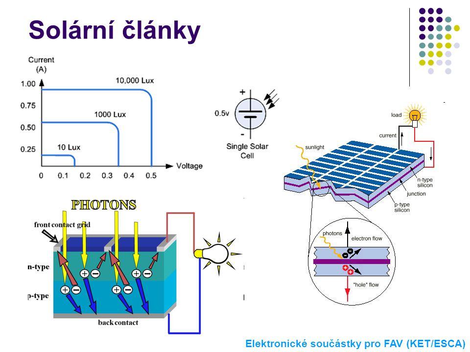 Solární články Elektronické součástky pro FAV (KET/ESCA)