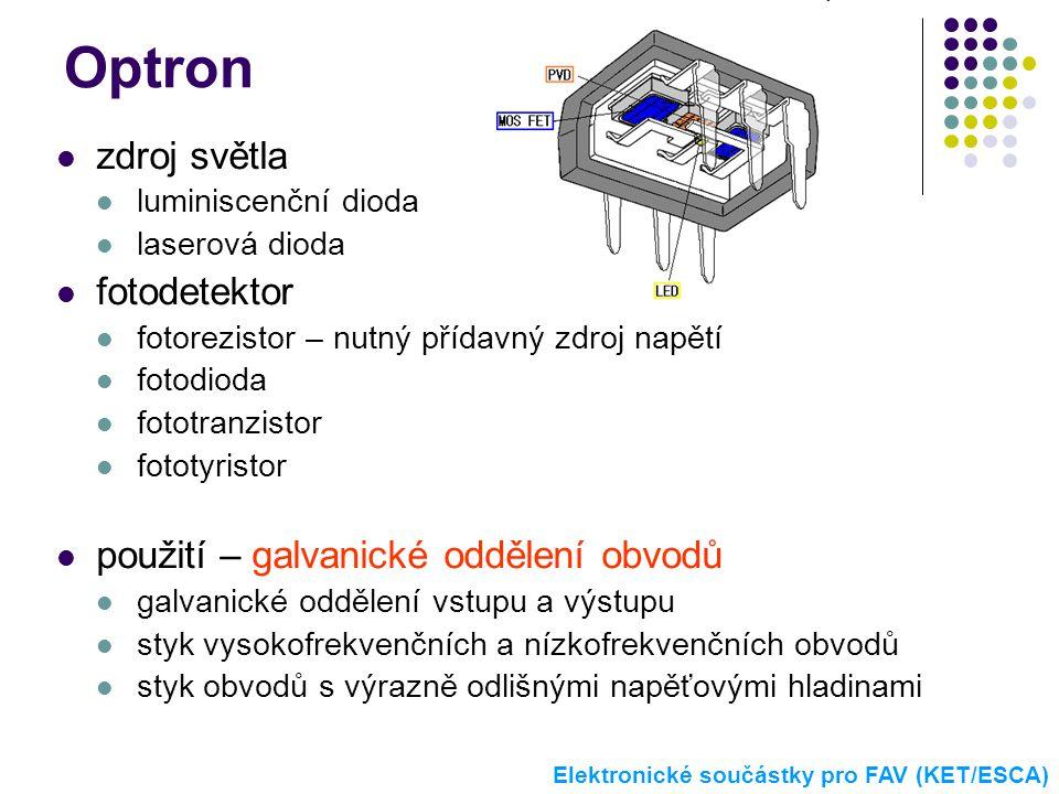 Optron zdroj světla fotodetektor použití – galvanické oddělení obvodů