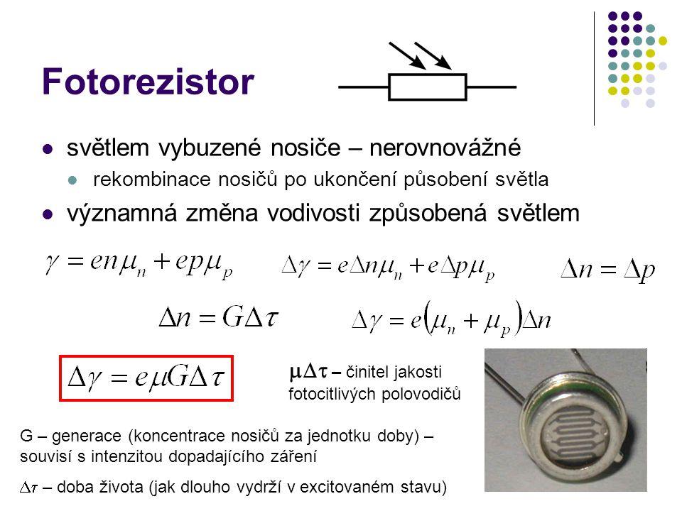 Fotorezistor světlem vybuzené nosiče – nerovnovážné