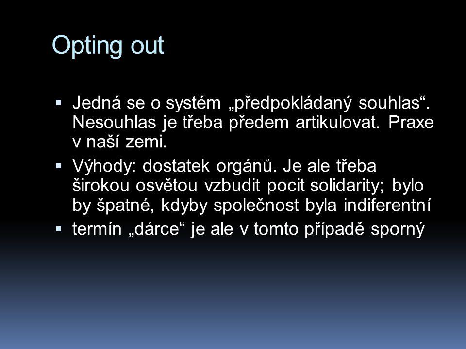 """Opting out Jedná se o systém """"předpokládaný souhlas . Nesouhlas je třeba předem artikulovat. Praxe v naší zemi."""