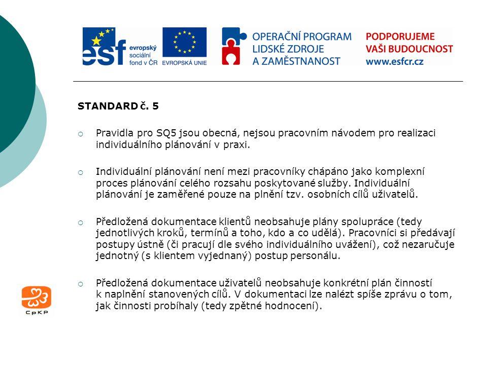 STANDARD č. 5 Pravidla pro SQ5 jsou obecná, nejsou pracovním návodem pro realizaci individuálního plánování v praxi.