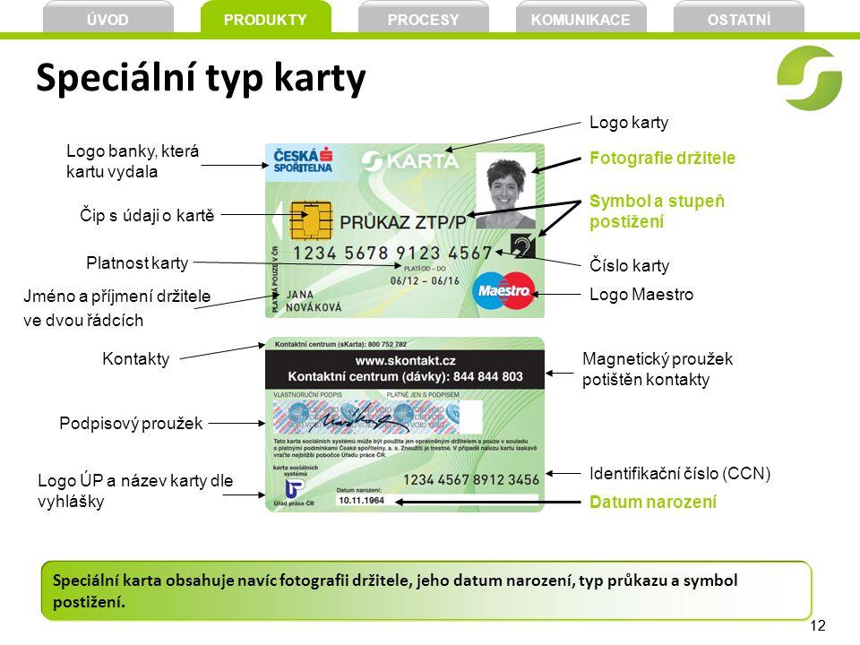 ÚVOD PRODUKTY. PROCESY. KOMUNIKACE. OSTATNÍ. Speciální typ karty. Logo karty. Logo banky, která kartu vydala.